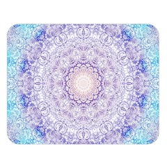 India Mehndi Style Mandala   Cyan Lilac Double Sided Flano Blanket (large)  by EDDArt