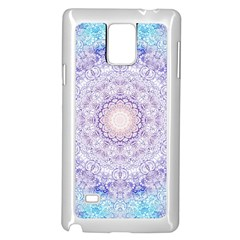 India Mehndi Style Mandala   Cyan Lilac Samsung Galaxy Note 4 Case (white) by EDDArt