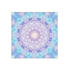 India Mehndi Style Mandala   Cyan Lilac Satin Bandana Scarf by EDDArt