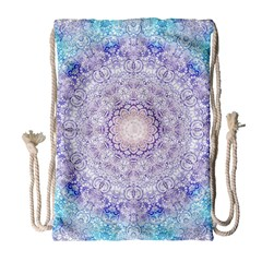 India Mehndi Style Mandala   Cyan Lilac Drawstring Bag (large) by EDDArt