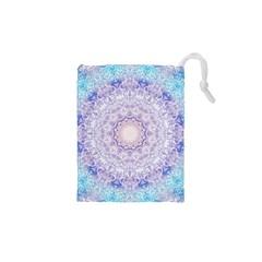 India Mehndi Style Mandala   Cyan Lilac Drawstring Pouches (xs)  by EDDArt