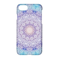 India Mehndi Style Mandala   Cyan Lilac Apple Iphone 7 Hardshell Case by EDDArt