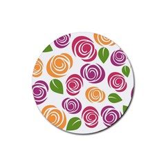 Colorful Seamless Floral Flowers Pattern Wallpaper Background Rubber Round Coaster (4 Pack)  by Amaryn4rt