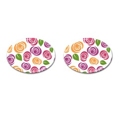 Colorful Seamless Floral Flowers Pattern Wallpaper Background Cufflinks (oval) by Amaryn4rt