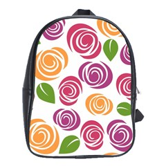 Colorful Seamless Floral Flowers Pattern Wallpaper Background School Bags(large)  by Amaryn4rt