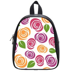 Colorful Seamless Floral Flowers Pattern Wallpaper Background School Bags (small)  by Amaryn4rt