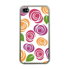 Colorful Seamless Floral Flowers Pattern Wallpaper Background Apple Iphone 4 Case (clear) by Amaryn4rt