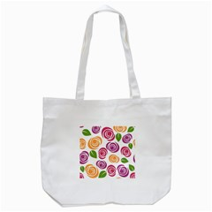 Colorful Seamless Floral Flowers Pattern Wallpaper Background Tote Bag (white) by Amaryn4rt