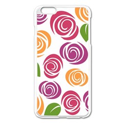 Colorful Seamless Floral Flowers Pattern Wallpaper Background Apple Iphone 6 Plus/6s Plus Enamel White Case by Amaryn4rt