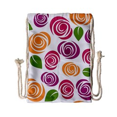 Colorful Seamless Floral Flowers Pattern Wallpaper Background Drawstring Bag (small) by Amaryn4rt