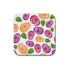 Colorful Seamless Floral Flowers Pattern Wallpaper Background Rubber Coaster (square)  by Amaryn4rt
