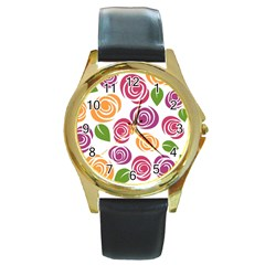 Colorful Seamless Floral Flowers Pattern Wallpaper Background Round Gold Metal Watch by Amaryn4rt