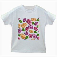 Colorful Seamless Floral Flowers Pattern Wallpaper Background Kids White T Shirts by Amaryn4rt