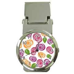Colorful Seamless Floral Flowers Pattern Wallpaper Background Money Clip Watches by Amaryn4rt