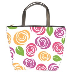 Colorful Seamless Floral Flowers Pattern Wallpaper Background Bucket Bags by Amaryn4rt