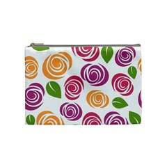 Colorful Seamless Floral Flowers Pattern Wallpaper Background Cosmetic Bag (medium)  by Amaryn4rt