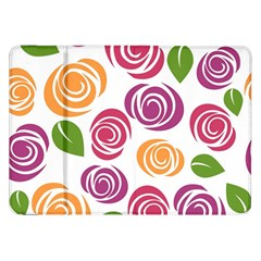 Colorful Seamless Floral Flowers Pattern Wallpaper Background Samsung Galaxy Tab 8 9  P7300 Flip Case by Amaryn4rt