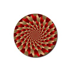 Fractal Red Petal Spiral Rubber Round Coaster (4 Pack)  by Amaryn4rt