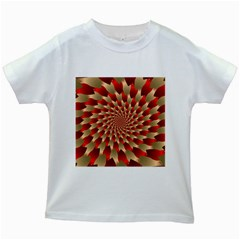 Fractal Red Petal Spiral Kids White T Shirts by Amaryn4rt