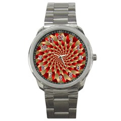 Fractal Red Petal Spiral Sport Metal Watch by Amaryn4rt