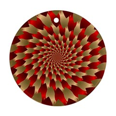 Fractal Red Petal Spiral Round Ornament (two Sides) by Amaryn4rt