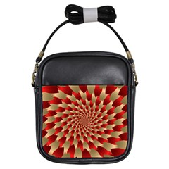 Fractal Red Petal Spiral Girls Sling Bags by Amaryn4rt