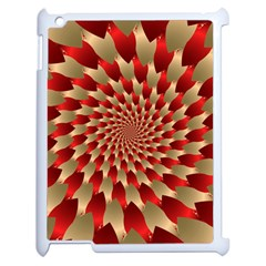 Fractal Red Petal Spiral Apple Ipad 2 Case (white) by Amaryn4rt