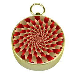 Fractal Red Petal Spiral Gold Compasses by Amaryn4rt