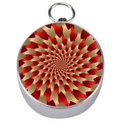 Fractal Red Petal Spiral Silver Compasses by Amaryn4rt