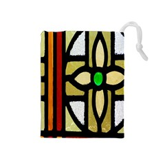 A Detail Of A Stained Glass Window Drawstring Pouches (medium)  by Amaryn4rt
