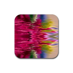Abstract Pink Colorful Water Background Rubber Square Coaster (4 Pack)  by Amaryn4rt
