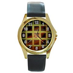 Drawing Of A Color Fractal Window Round Gold Metal Watch