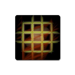 Drawing Of A Color Fractal Window Square Magnet by Amaryn4rt