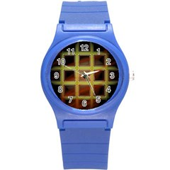 Drawing Of A Color Fractal Window Round Plastic Sport Watch (s) by Amaryn4rt
