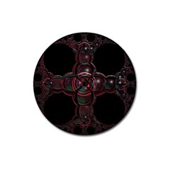 Fractal Red Cross On Black Background Magnet 3  (round) by Amaryn4rt