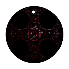 Fractal Red Cross On Black Background Round Ornament (two Sides) by Amaryn4rt