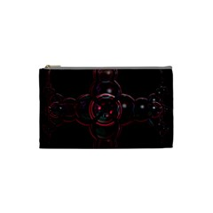 Fractal Red Cross On Black Background Cosmetic Bag (small)  by Amaryn4rt