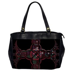Fractal Red Cross On Black Background Office Handbags (2 Sides)  by Amaryn4rt
