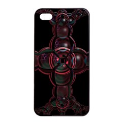 Fractal Red Cross On Black Background Apple Iphone 4/4s Seamless Case (black) by Amaryn4rt