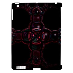 Fractal Red Cross On Black Background Apple Ipad 3/4 Hardshell Case (compatible With Smart Cover) by Amaryn4rt