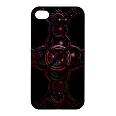 Fractal Red Cross On Black Background Apple Iphone 4/4s Premium Hardshell Case by Amaryn4rt