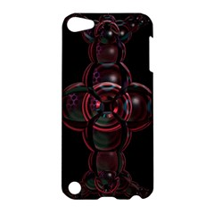 Fractal Red Cross On Black Background Apple Ipod Touch 5 Hardshell Case by Amaryn4rt
