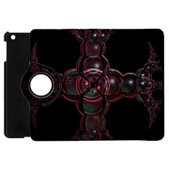 Fractal Red Cross On Black Background Apple Ipad Mini Flip 360 Case by Amaryn4rt