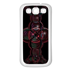 Fractal Red Cross On Black Background Samsung Galaxy S3 Back Case (white) by Amaryn4rt