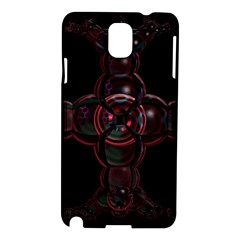 Fractal Red Cross On Black Background Samsung Galaxy Note 3 N9005 Hardshell Case by Amaryn4rt