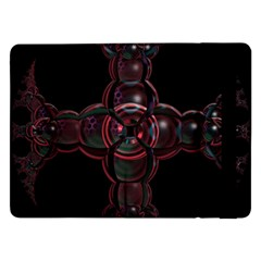 Fractal Red Cross On Black Background Samsung Galaxy Tab Pro 12 2  Flip Case by Amaryn4rt