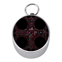 Fractal Red Cross On Black Background Mini Silver Compasses by Amaryn4rt