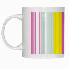 Multi Colored Bright Stripes Striped Background Wallpaper White Mugs by Amaryn4rt
