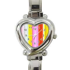 Multi Colored Bright Stripes Striped Background Wallpaper Heart Italian Charm Watch by Amaryn4rt