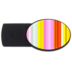 Multi Colored Bright Stripes Striped Background Wallpaper Usb Flash Drive Oval (4 Gb) by Amaryn4rt